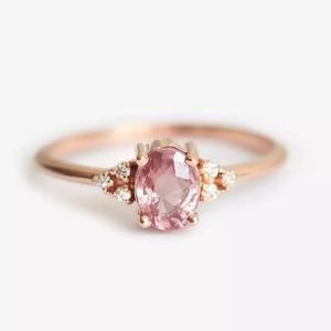 NEW! Gold Dainty Pink Rose Quartz Oval Ring